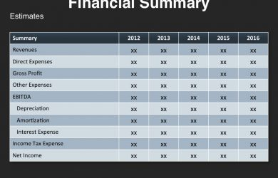 monthly expense report template investor presentation template financial summary