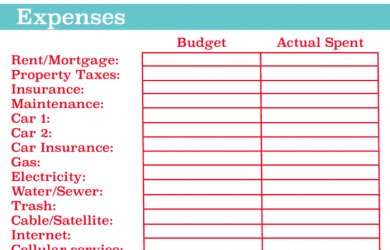 monthly expense spreadsheet best personal budget template x
