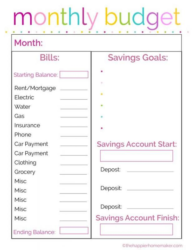 monthly household budget