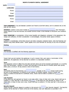 monthly rental agreement arizona monthly rental agreement template