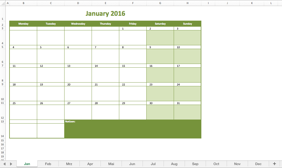 schedule template for excel