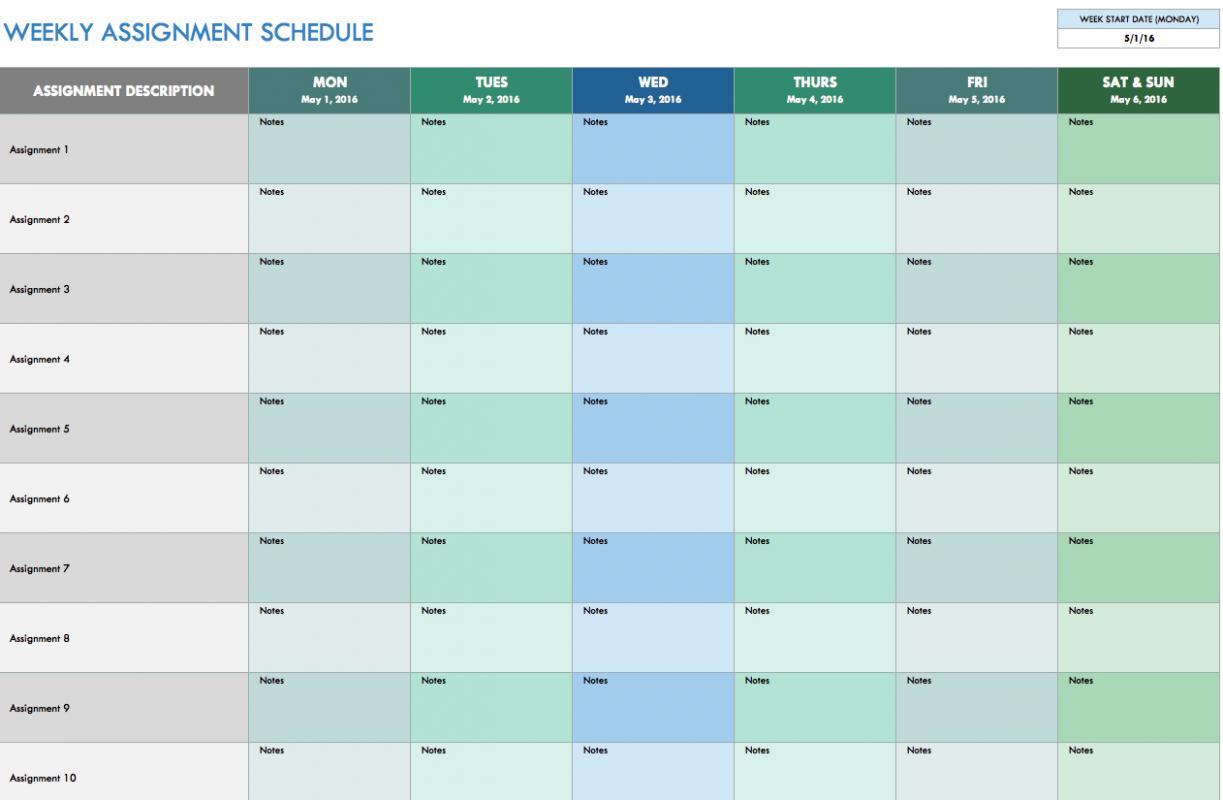 monthly schedule template excel