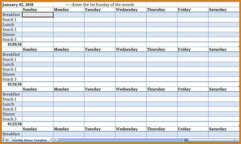 Monthly Schedule Template  Monday To Sunday Schedule Template