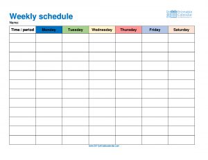 monthly schedule template weekly schedule monday to saturday in color