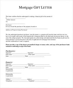 mortgage gift letter template mortgage gift letter