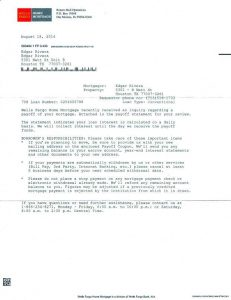 mortgage promissory note debt payoff letter from wells fargo bank