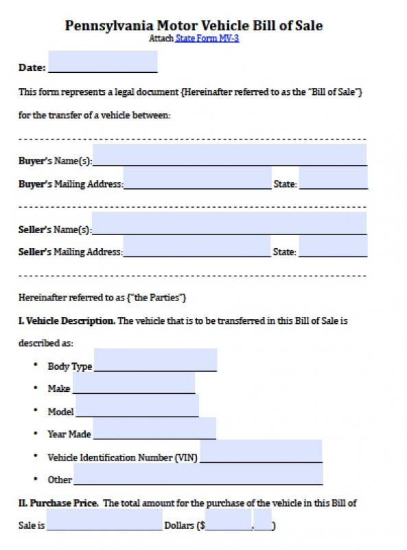 motor vehicle bill of sale pdf