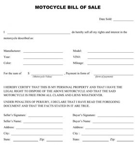 motorcycle bill of sale motorcycle bill of sale 656