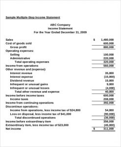 multi step income statement example multi step income statement with taxes