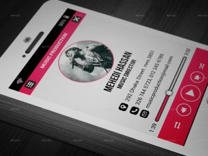 music business cards screenshot