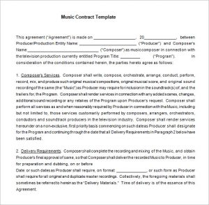 music contract template film music contract tenplate word free download