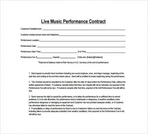music contract template live music contract template