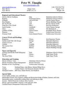musical theatre resume template d