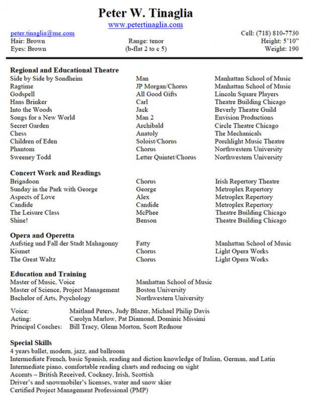 musical theatre resume template