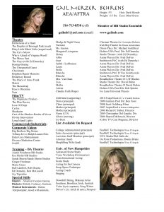 musical theatre resume template gmbresume