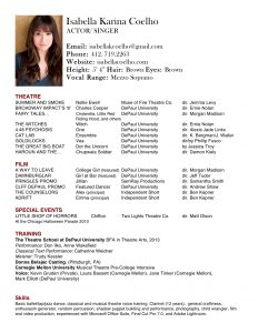 musical theatre resume template isabella k new headshot acting resume