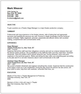 musical theatre resume template theatre resume example