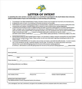 national letter of intent sample football letter of intent