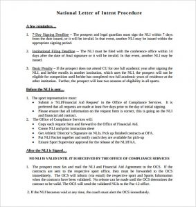 national letter of intent national letter of intent procedure template printable pdf