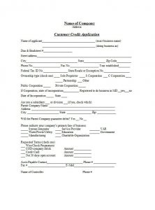 net terms agreement template credit application form