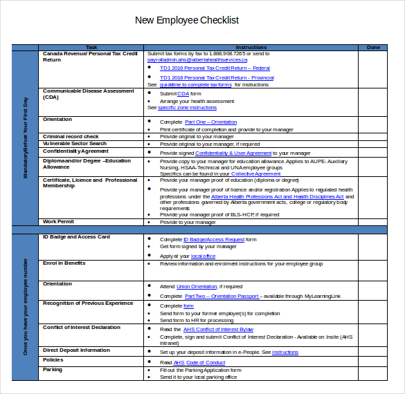 New Hire Checklist Template  Template Business