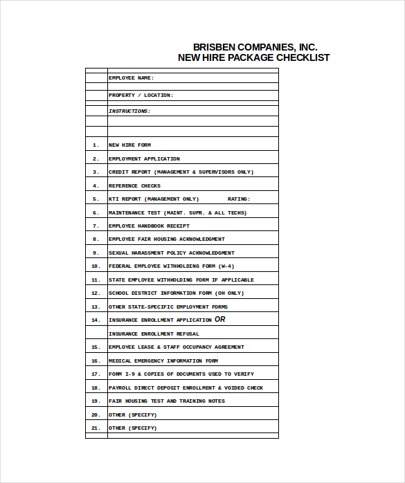 New Hire Checklist Template  Checklist Template Free