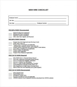 new hire checklist template sample new hire employee checklist