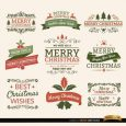 new year flyer christmas typographic elements vintage labels frames and ribbons