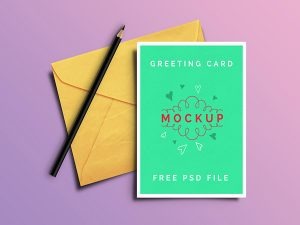 new year flyer greeting card psd free mockup