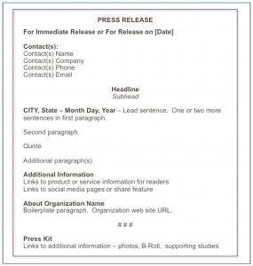 news release format chap fig standard press release format