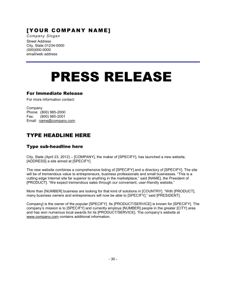 news release format