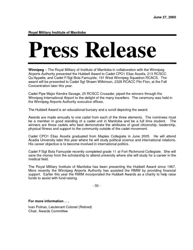 News release format template business for Writing press releases template