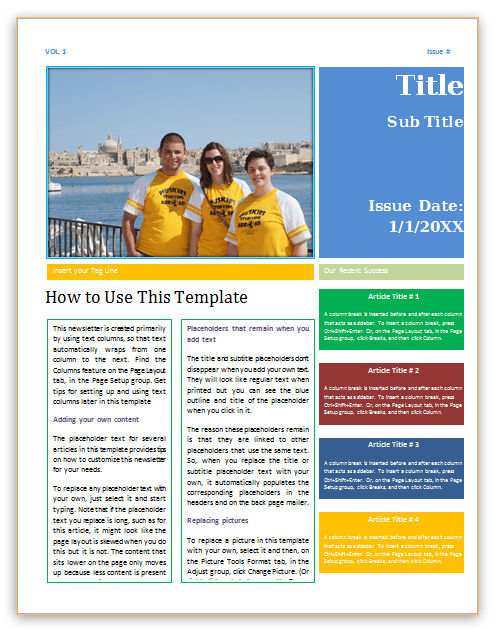 graphic about Free Printable Newsletter Templates for Microsoft Word called E-newsletter Template Phrase Template Office