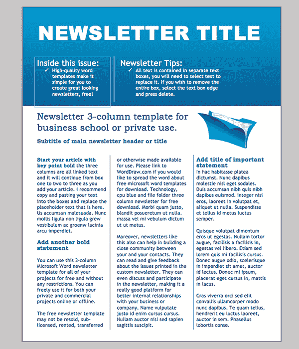 newsletter templates word