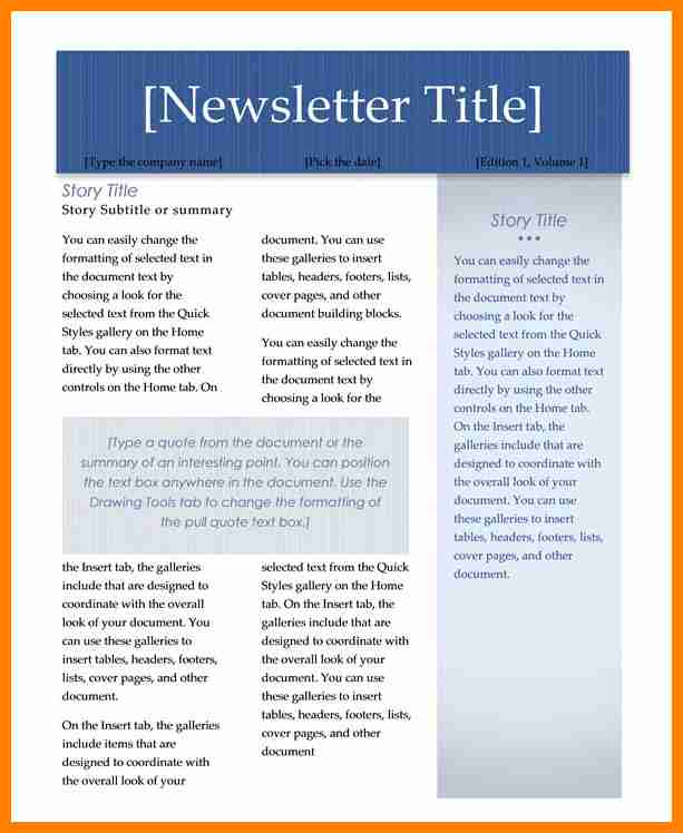 Newsletter Templates Word Template Business