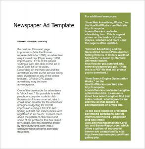 newspaper ad template newspaper ad template free