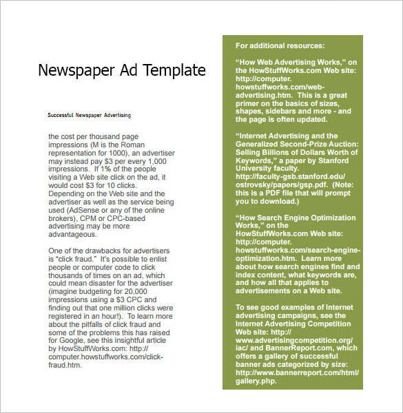 Newspaper Ad Template  Template Business