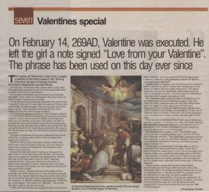 newspaper article example chrisfielden valentines bristoleveningpost februaryth