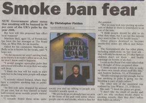 newspaper article example chrisfielden smokeban mercurydecemberth