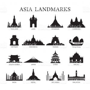 newspaper article format asia landmarks architecture building silhouette set vector id
