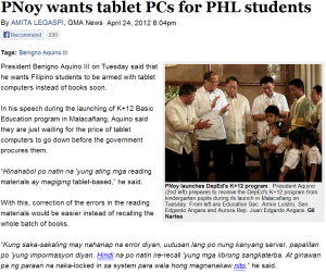 newspaper article format pnoy tablet