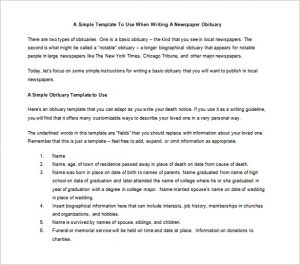 newspaper obituary template newspaper obituary format