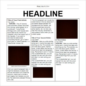 Newspaper Template Free Editable Elementary School Newspaper Template Free  Google Doc