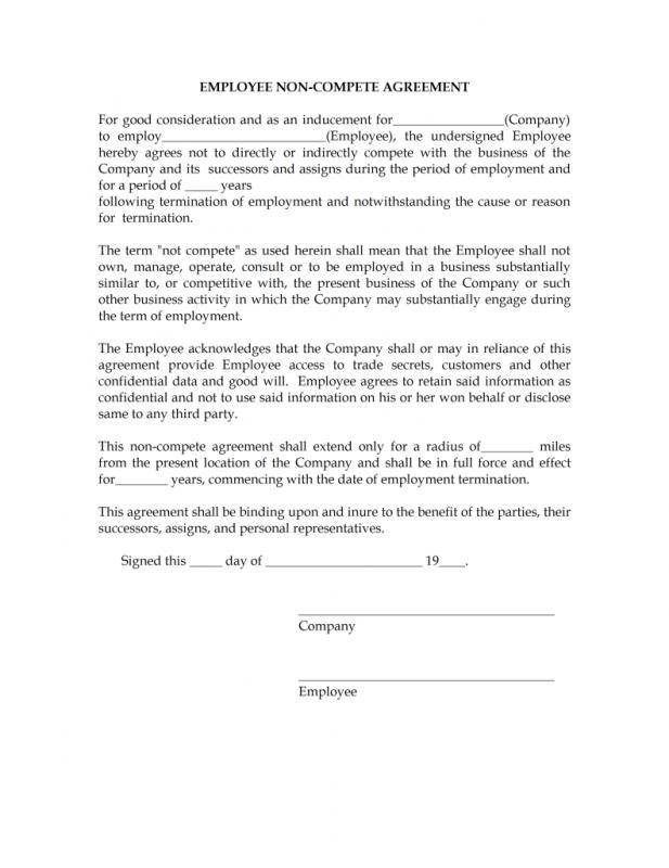 Non compete agreement template template business for Short non disclosure agreement template