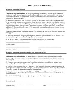 non compete form company non compete agreement form