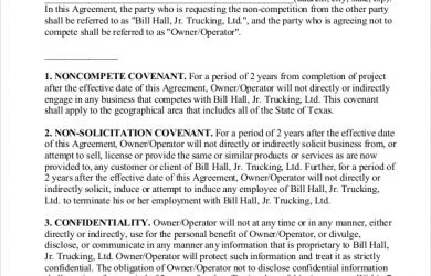 non compete form non compete agreement form