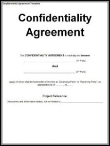 non disclosure agreement form confidentiality agreement small e
