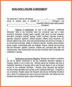 non disclosure agreement form generic non disclosure agreement template one way non disclosure agreement template