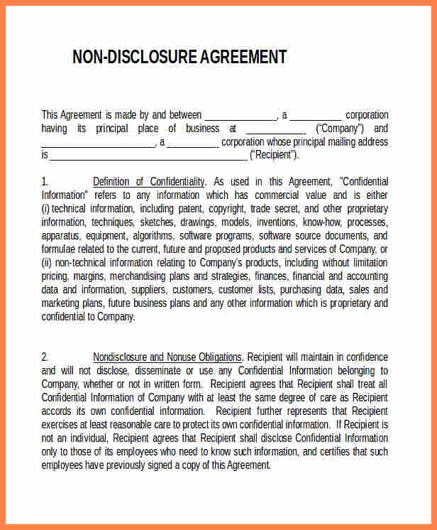 non-disclosure agreement form