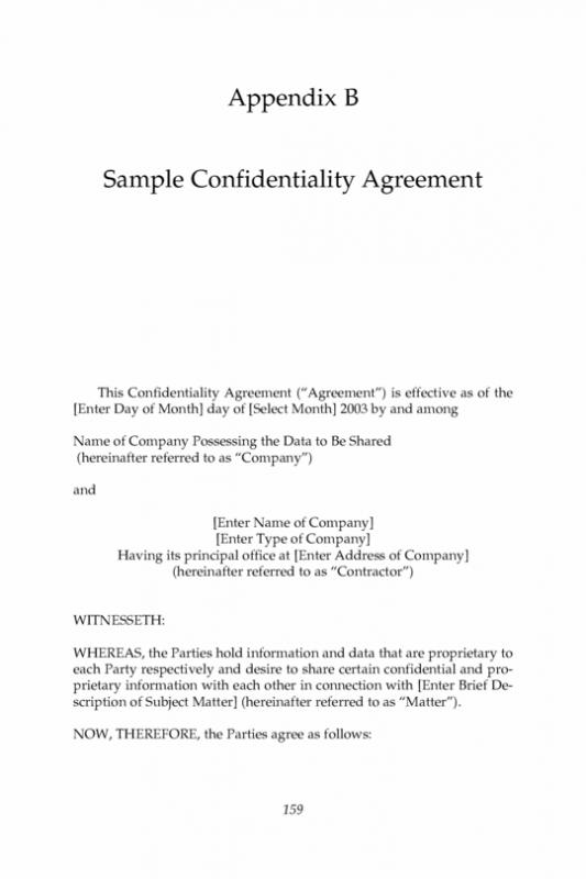 Non Disclosure Agreement Form  Template Business